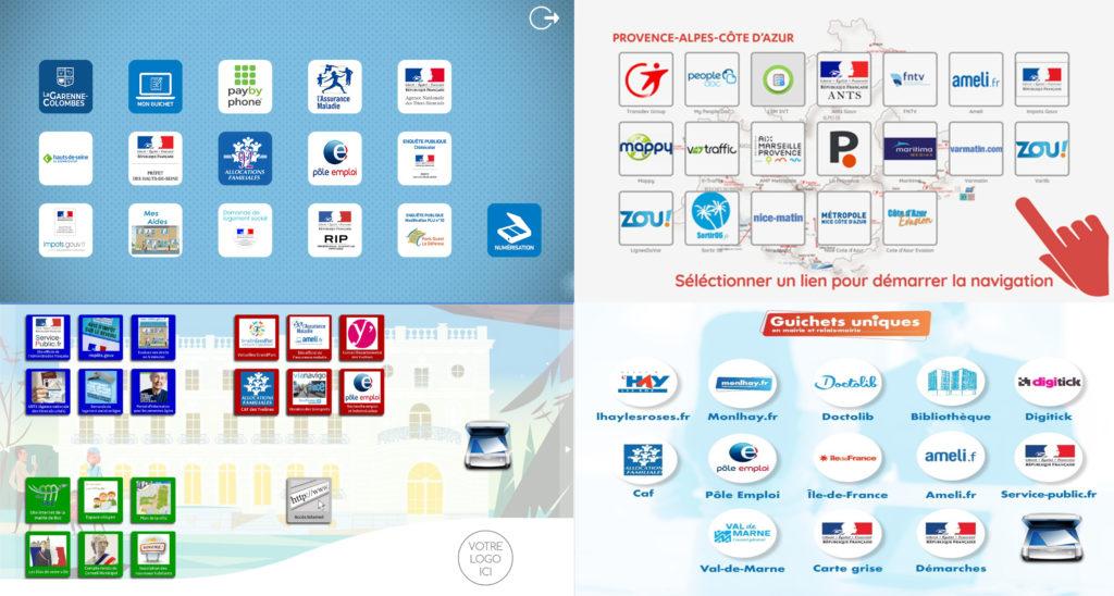 Exemple de réalisations de page d'acceuil - borne interactive multiservice
